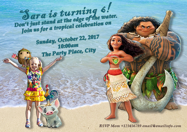 Disney's Moana Custom Party Invitation
